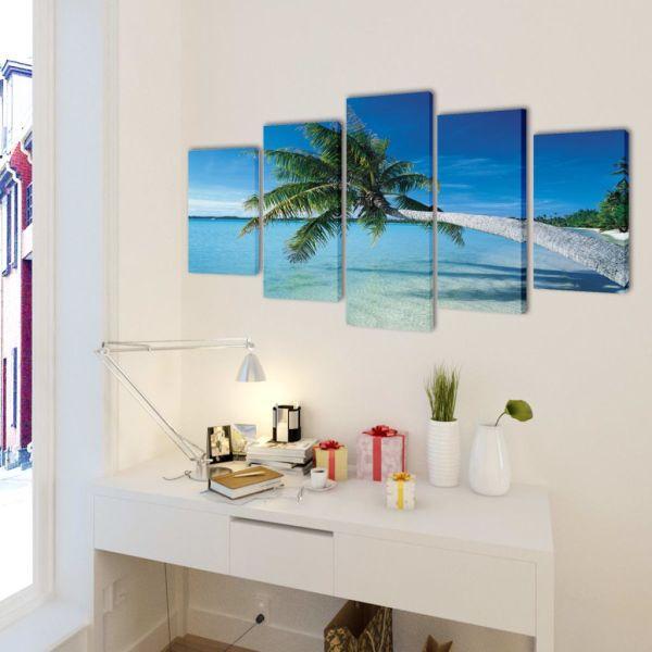 Set tablouri de perete cu imprimeu plajă nisip și palmier, 200x100cm