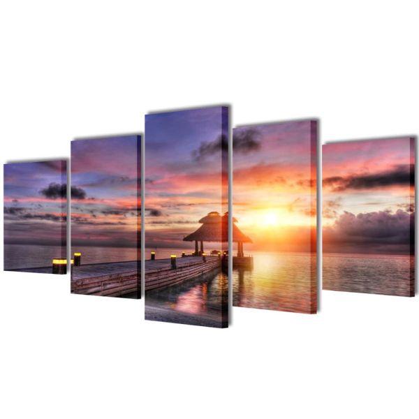 Set tablouri de pânză, Plajă cu Pavilion, 200 x 100 cm