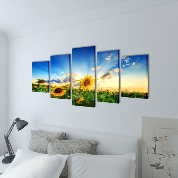 Set tablouri pânză cu imprimeu floarea soarelui, 100 x 50 cm