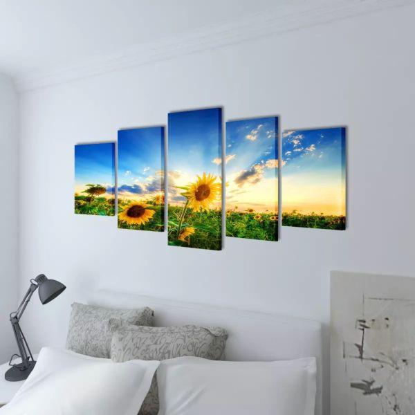 Set tablouri de perete cu imprimeu floarea soarelui, 200 x 100 cm