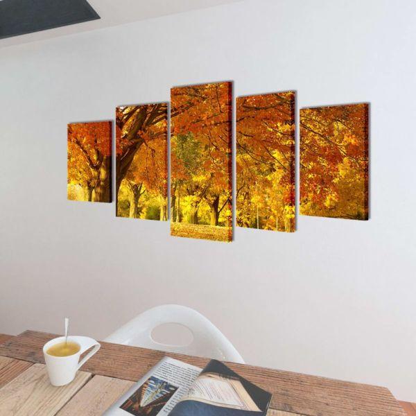Set tablouri din pânză cu imprimeu arțar, 100 x 50 cm