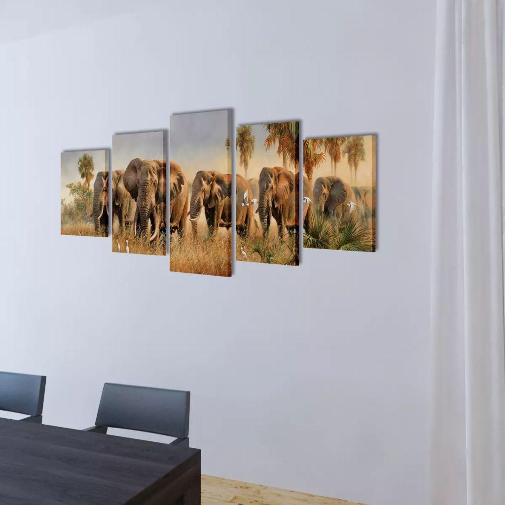 Set tablouri pânză cu imprimeu elefanți, 100 x 50 cm
