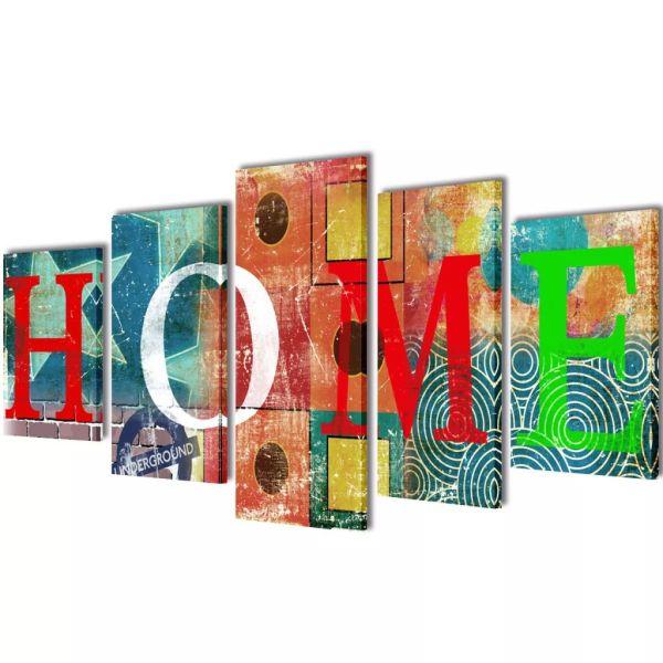 Set tablouri din pânză cu imprimeu colorat Home 100 x 50 cm