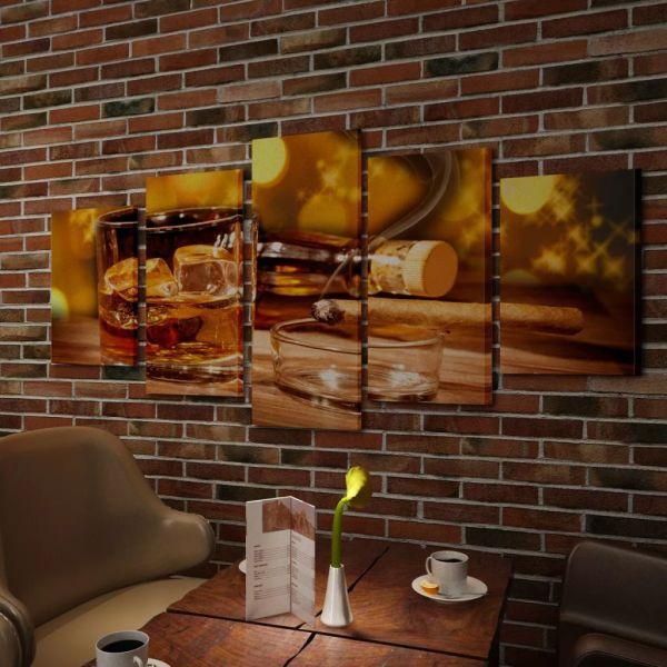 Set tablouri de perete, imprimeu whiskey și trabuc, 200 x 100 cm
