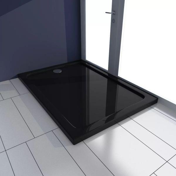 vidaXL Cădiță de duș dreptunghiulară din ABS, negru, 70 x 100 cm