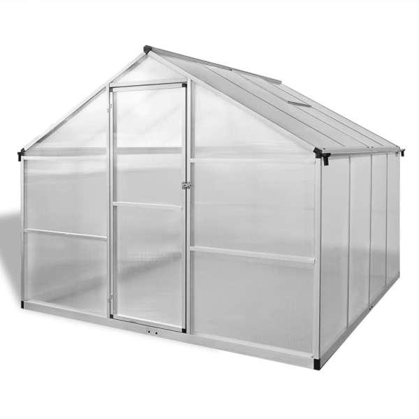 Seră din aluminiu ranforsat cu cadru la bază, 6,05 m²