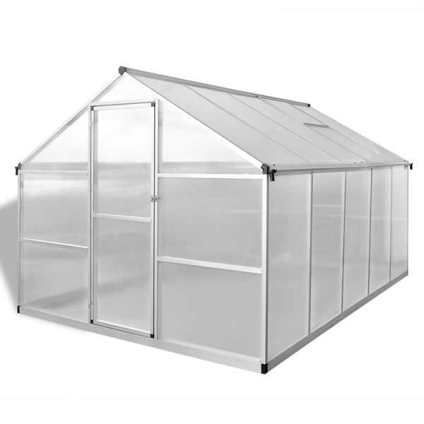 vidaXL Seră din aluminiu ranforsat cu cadru la bază, 7,55 m²