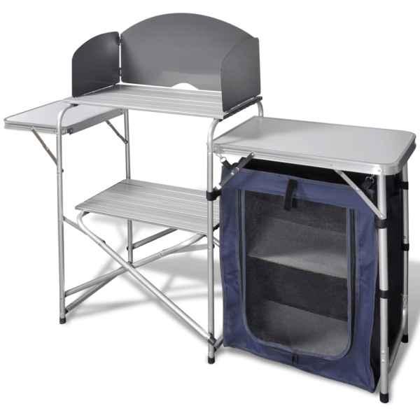 Unitatea bucătărie pentru camping cu apărătoare vânt din aluminiu