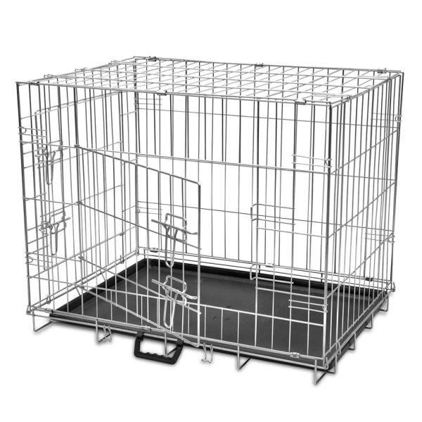 vidaXL Cușcă pentru câini pliabilă, metal, L