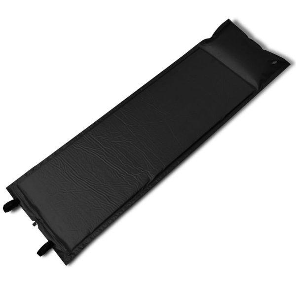 Saltea auto-gonflabilă neagră, 1 persoană, 185 x 55 x 3 cm