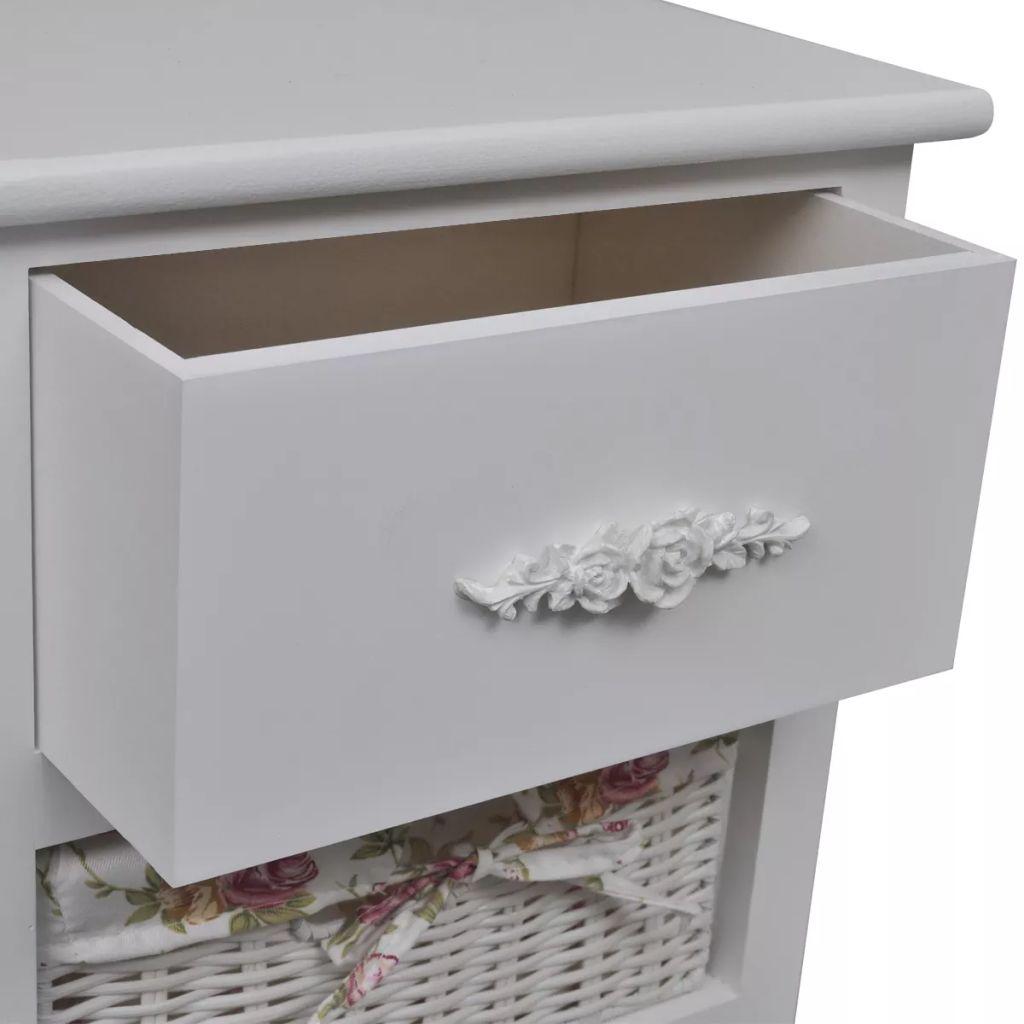 vidaXL Dulap cu 1 sertar și 3 coșuri, alb, lemn de paulownia