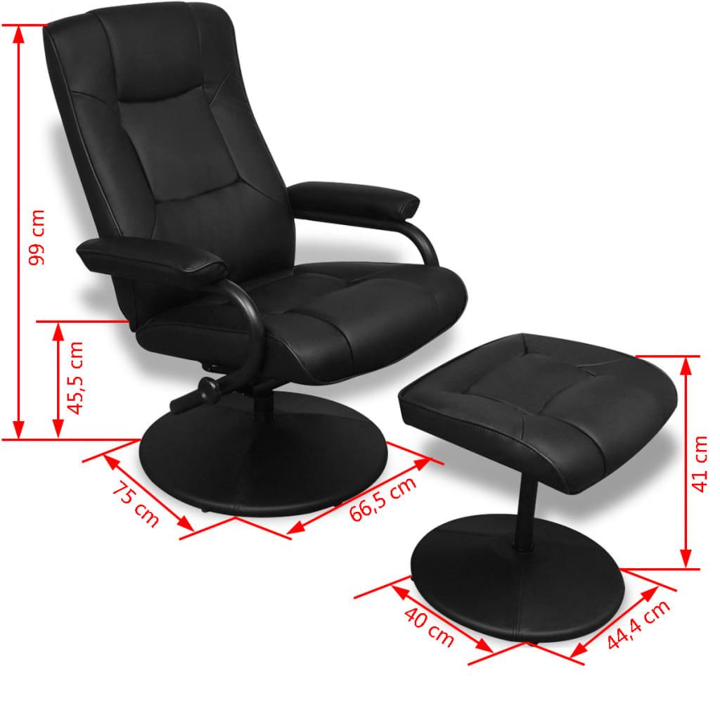 vidaXL Fotoliu TV cu taburet picioare, negru, piele ecologică