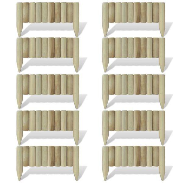 vidaXL Panouri din bușteni pentru gazon, 10 buc., 60 cm, lemn