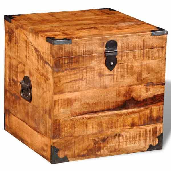 vidaXL Cufăr de depozitare tip cub, lemn de mango nefinisat