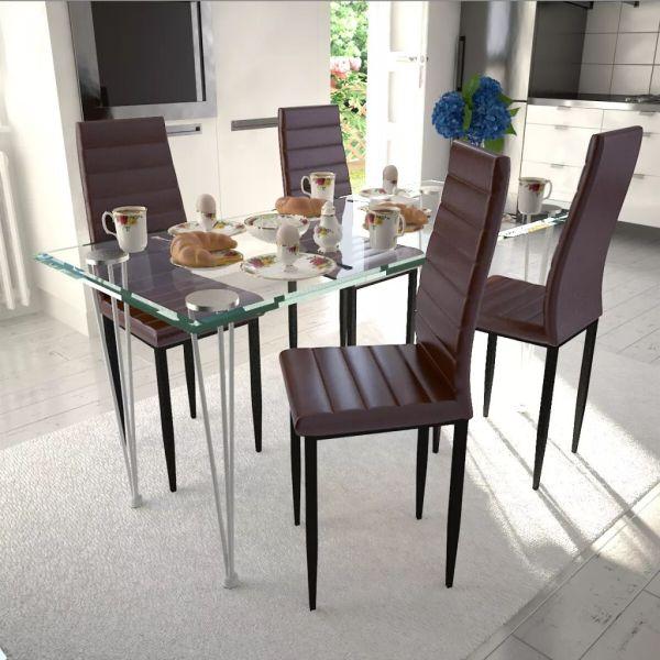 Set 4 scaune de culoare maro și masă de sticlă