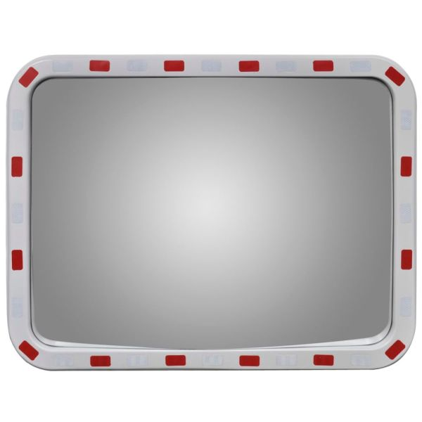Oglindă de trafic convexă dreptunghiulară, 60 x 80 cm, cu reflectoare