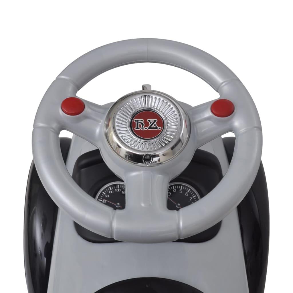 Mașină retro de jucărie pentru copii, cu împingere, gri