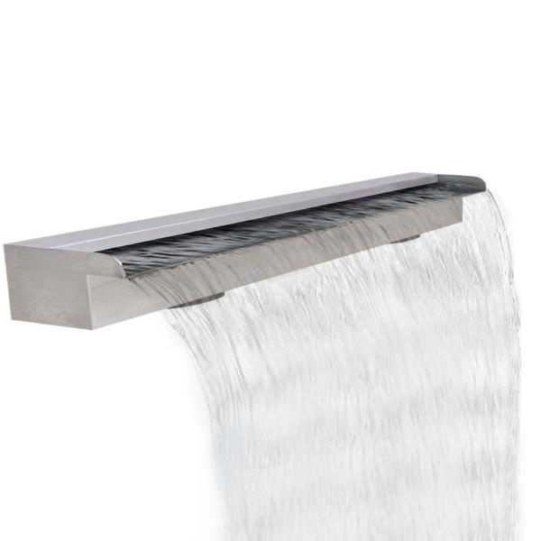 Fântână de piscină dreptunghiulară cu cascadă 120 cm oțel inoxidabil