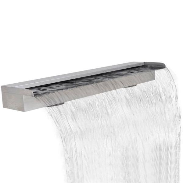 Fântână de piscină dreptunghiulară cu cascadă 150 cm oțel inoxidabil