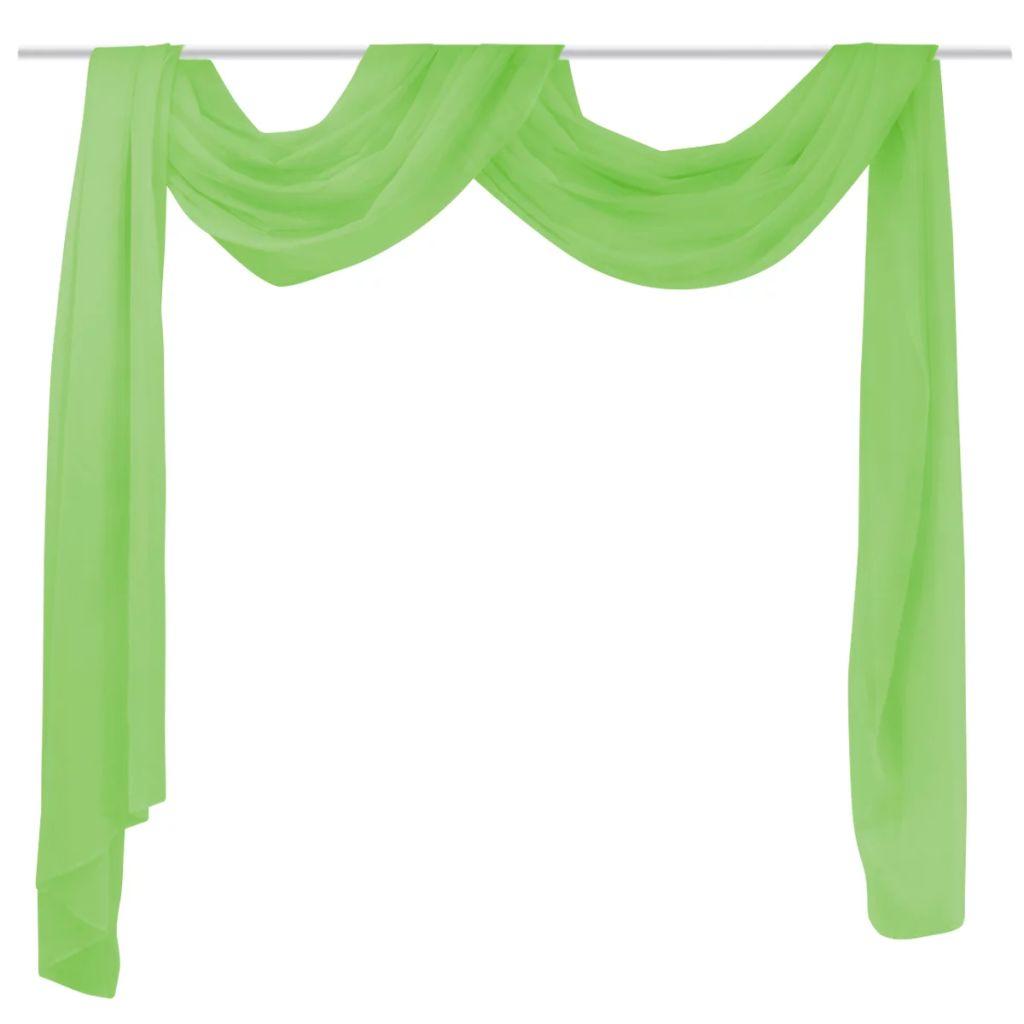 Draperie transparentă din voal 140 x 600 cm, verde