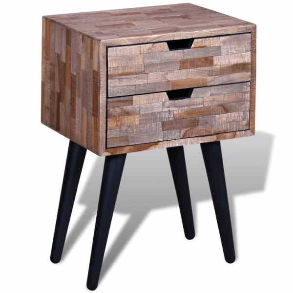 vidaXL Noptieră cu 2 sertare, lemn de tec reciclat