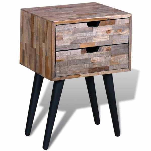 Noptieră cu 2 sertare, lemn de tec reciclat