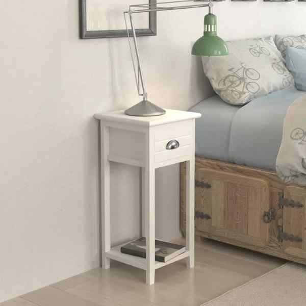 vidaXL Noptieră cu 1 sertar, alb