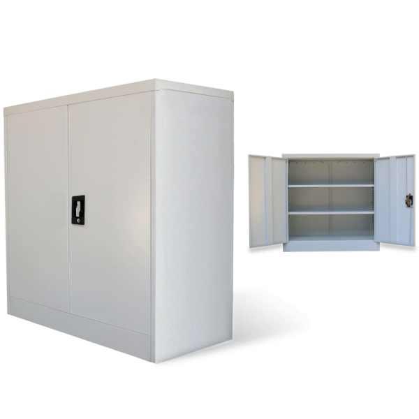 vidaXL Dulap de birou cu 2 uși, gri, 90 cm, oțel