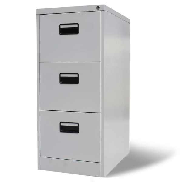 vidaXL Fișet cu 3 sertare, gri, 102,5 cm, oțel