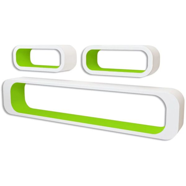 3 Rafturi cub suspendate perete, depozitare cărți/DVD, MDF alb-verde