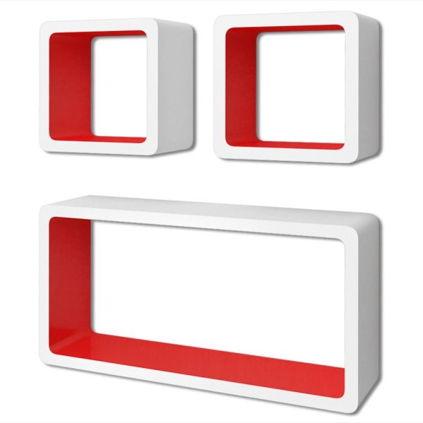 3 Rafturi de tip cub din MDF pentru cărți/DVD-uri, alb-roșu