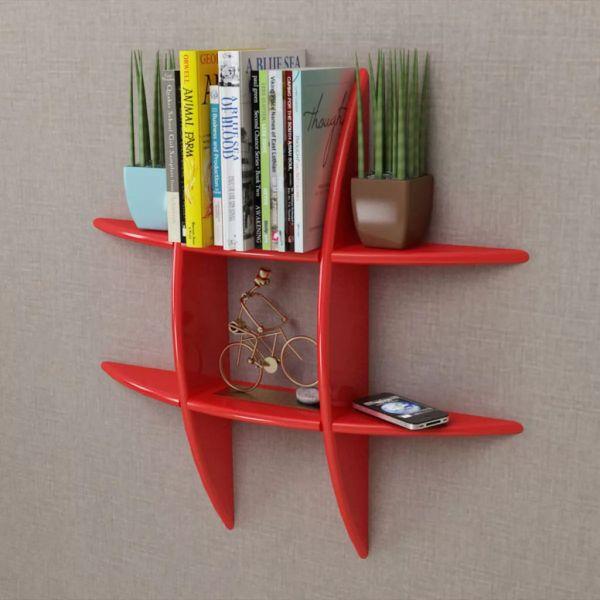 Raft de perete suspendat pentru cărți și DVD-uri, MDF, roșu