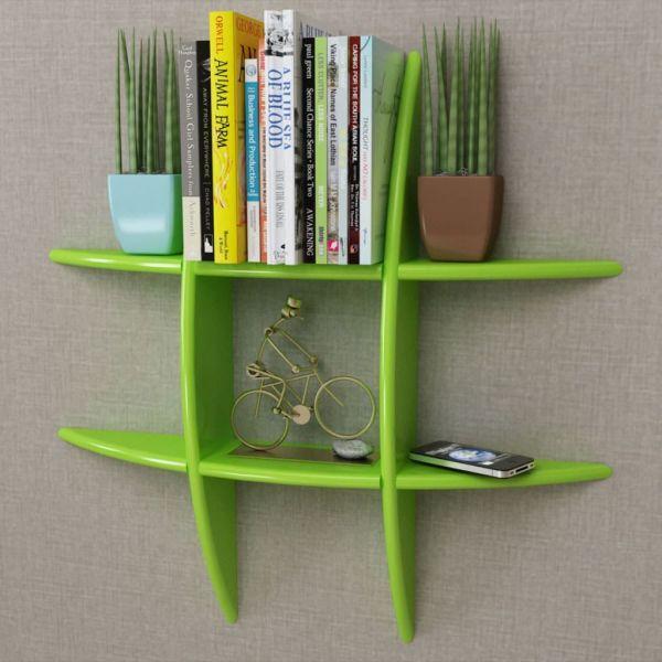 Raft suspendat de perete pentru cărți/DVD-uri, MDF, verde