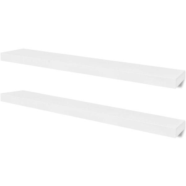 Rafturi suspendate pe perete depozitare cărți/DVD-uri, MDF, 2 buc, alb