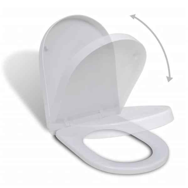 vidaXL Scaun de toaletă cu închidere silențioasă, alb, pătrat