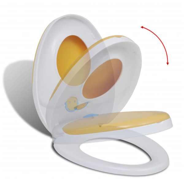vidaXL Scaun toaletă închidere silențioasă alb & galben adulți/copii