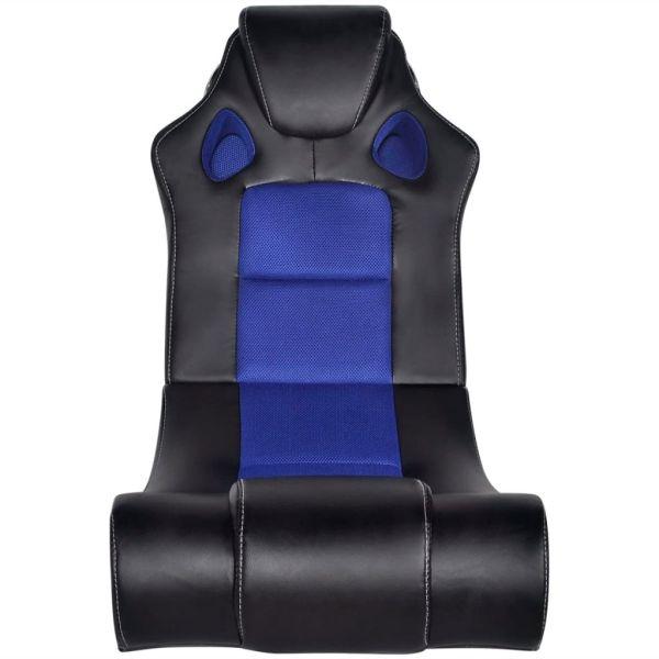 vidaXL Scaun balansoar muzical, negru și albastru, piele ecologică