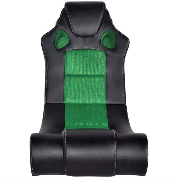 Scaun balansoar muzical, negru și verde, piele ecologică