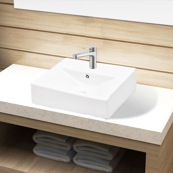 Chiuvetă dreptunghiulară de baie din ceramică, alb