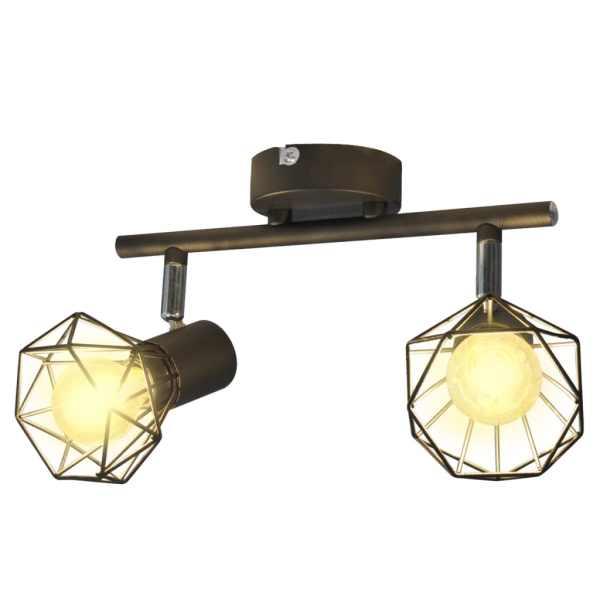 Lustră cadru sârmă stil industrial 2 becuri LED cu filament, negru