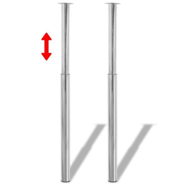 2 Picioare de masă telescopice din crom, 710 mm – 1100 mm