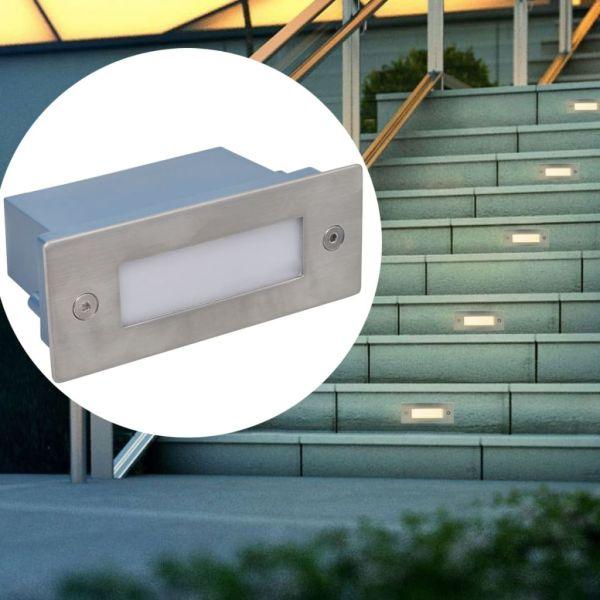 Lampă LED încastrată pentru scări, 2 buc, 44 x 111 x 56 mm