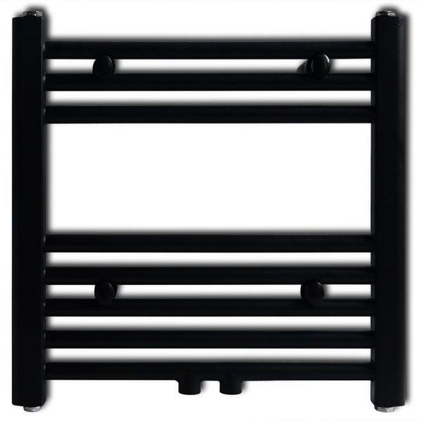 Radiator port-prosop încălzire centrală baie, drept, 480×480 mm, negru
