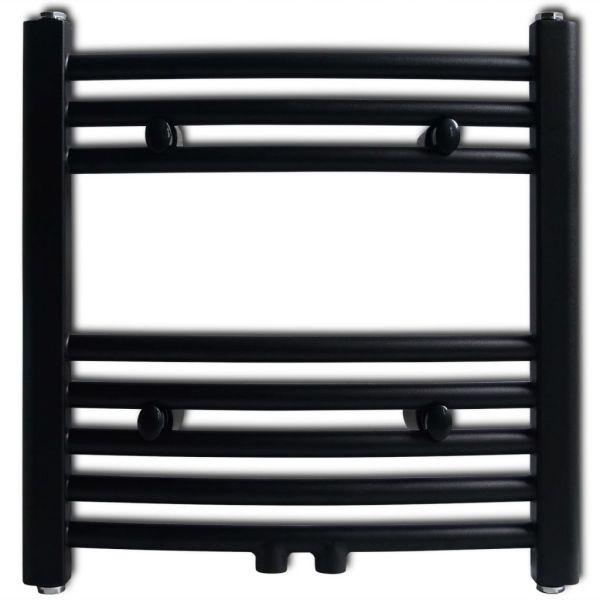 Radiator port-prosop încălzire baie, curbat, 480 x 480 mm, negru