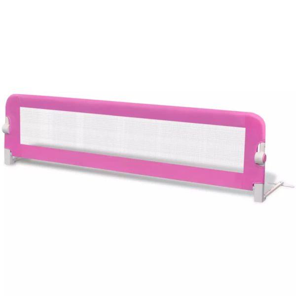 Balustradă de siguranță pentru pat de copil, roz, 150×42 cm