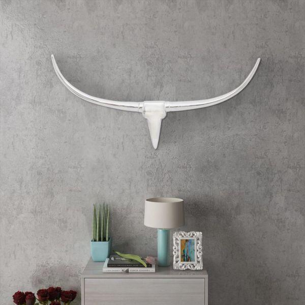 Decorațiune pentru perete tip cap de taur, aluminiu, 96 cm, Argintiu