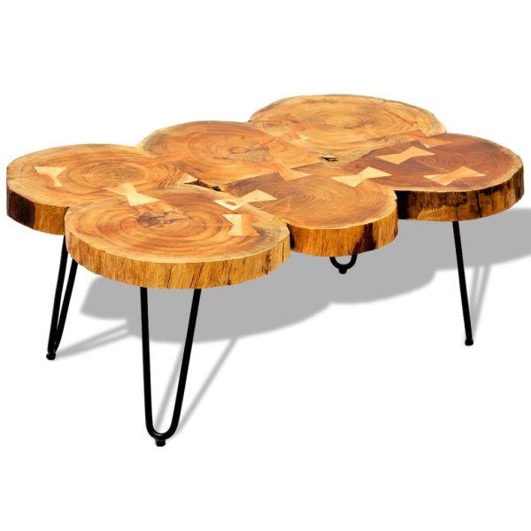 vidaXL Măsuță de cafea, 35 cm, 6 butuci, lemn masiv de sheesham