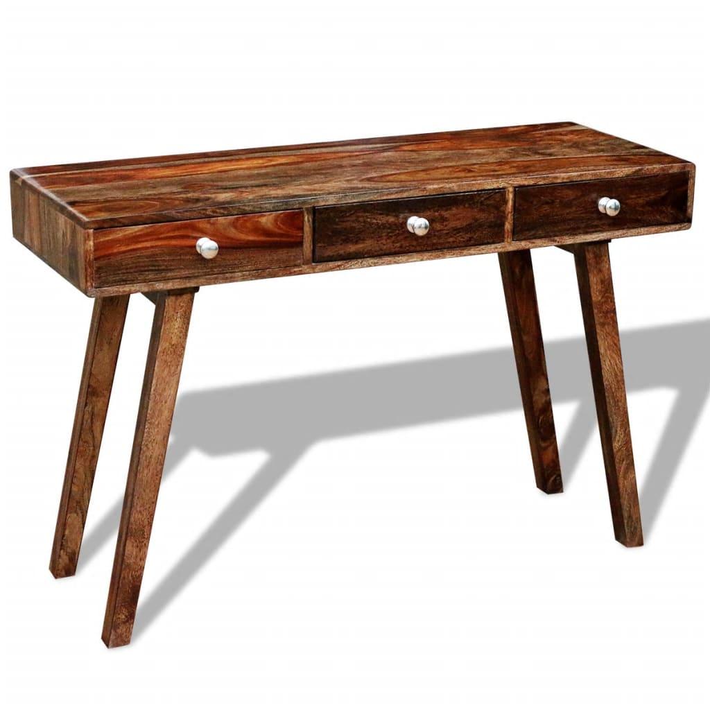 vidaXL Masă consolă cu 3 sertare, 76 cm, lemn masiv de sheesham