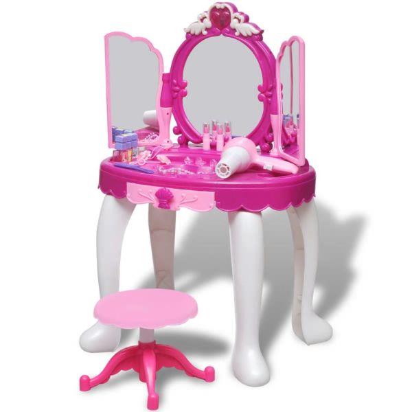 Masă de toaletă de jucărie cu 3 oglinzi, camera de joacă, lumină/sunet