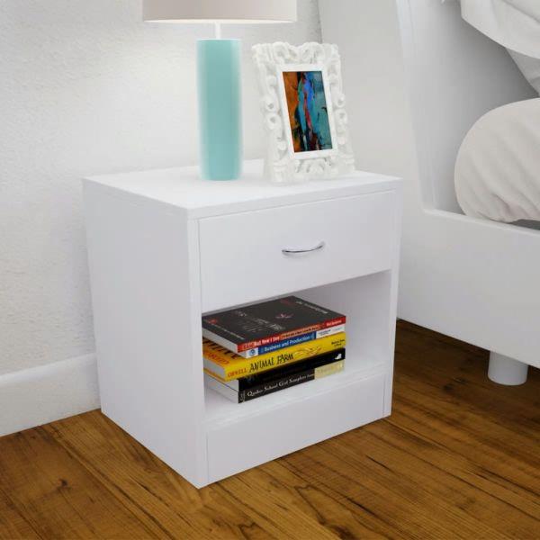 vidaXL Noptieră cu sertar, 2 buc, alb